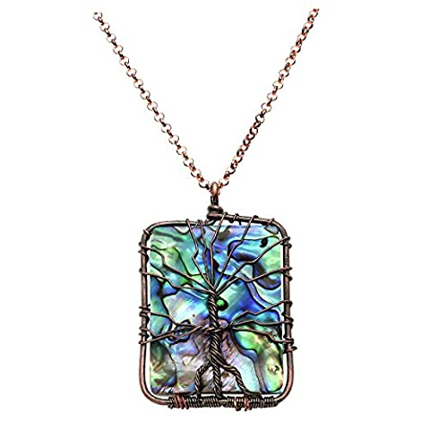Top Plaza Women Natural Abalone Shell Tree of Life Wire Wrap Antique Bronze Crystal Pendant Necklace (The Tree Of Life Bluray)