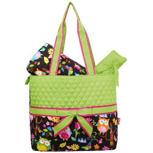 quilted owl diaper bag - 4