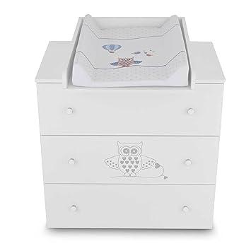Commode à langer bébé enfant Table à langer + Matelas à langer amovible - 3  tiroirs hibou bleu Matériel de Haute Qualité
