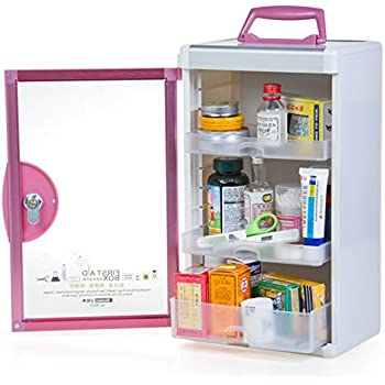 AZDENT Wall Medicine Cabinet Locking Medicine Storage Box Container  9.05X6.5X15.43 Pink