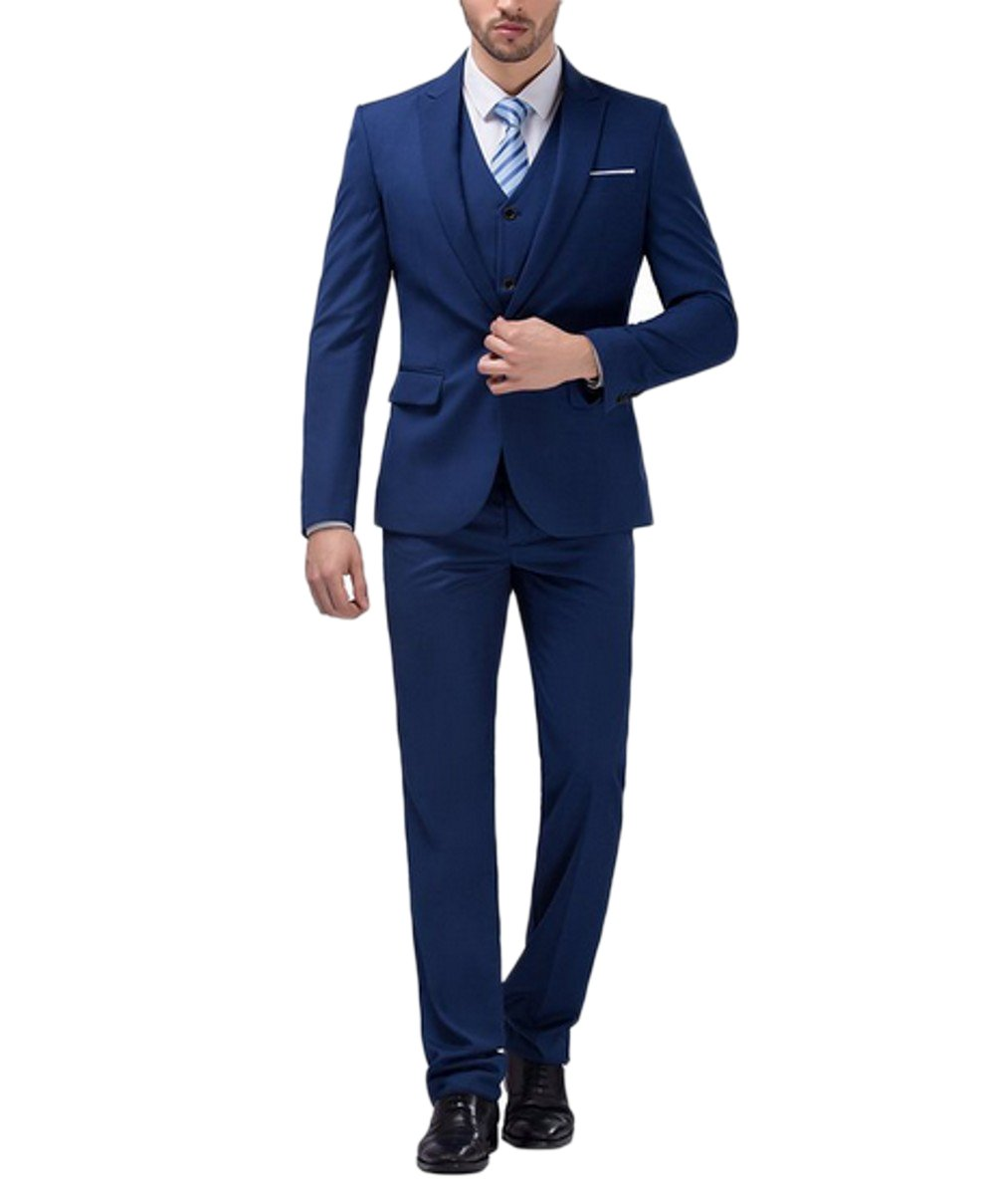Love Dress Men's Slim Fit Peak Lapel Three Piece Suit Set 5XL