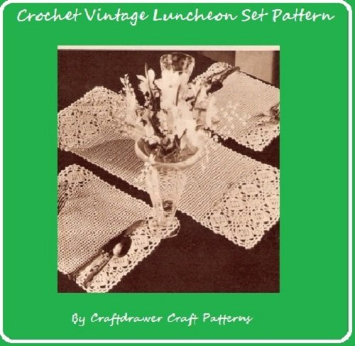 - Crochet Luncheon Set Pattern - Vintage Crochet Patterns for Placemats and Center Runner Mat
