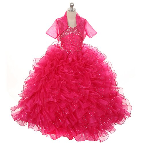 Rain Kids Little Girls Fuchsia Sequin Sparkly Ruffle Bolero Pageant Dress 6 by The Rain Kids