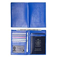 Genuine Leather Canadian Passport Cover with Wallet & Billfold for International Travel (Royal Blue w/ Arms of Canada)