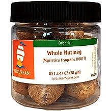 Epicurean Spices Organic Nutmeg, Whole, 2.47 Oz
