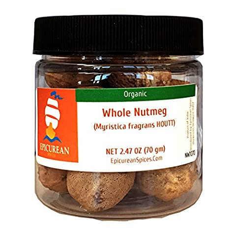 Epicurean Spices Organic Nutmeg, Whole, 2.47 Oz - Nutmeg Spice
