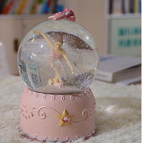 Tuersuer Merry-Go-Round Clockwork Musical Boxes Ballet Girl Crystal Ball Luminous Elegant Music Box