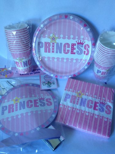 Girls Princess Party Complete Kit ~ 84 Pieces ~ Princess Loot Bags, Birthday Banner, Plates, Napkins, Cups, and Center Piece (Center Piece Plate compare prices)