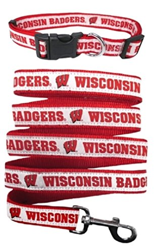 Pets First Wisconsin Badgers Nylon Collar and Matching Nylon Leash for Pets (NCAA Official Size Medium by Pets First