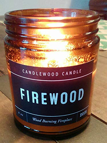 FIREWOOD - Wood Burning Fireplace Candle in Amber Jar with Black Lid 9 oz .Jan 2019 Original Wood Wicks are Back!