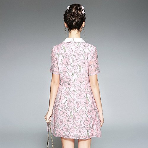 Pink Fat l'usure Robes Robe Taille Nouvelles des de Code Longues de 2018 MiGMV Moyenne Manches Manches fminins l't mm Robes Longueur L Grande Revers vtements 4A0wUcSPq