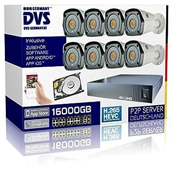 DVS Germany 160040 - Juego de cámaras de Seguridad 4K con 8 cámaras IP PoE UHD y 16 TB UHD NVR: Amazon.es: Bricolaje y herramientas