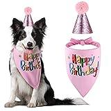 Blaoicni Dog Birthday Bandana Hat Scarf Party Supplies (Pink-Girl)