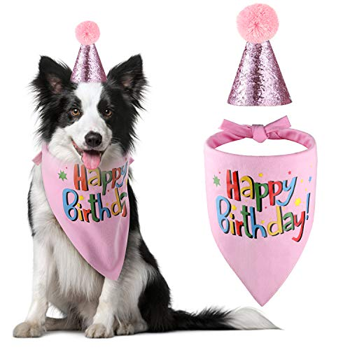 The Creativehome Dog Birthday Bandana Hat Scarf Party Supplies (Pink-Girl)
