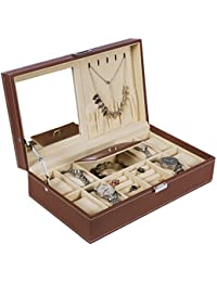 Jewelry Box 8 Watch Box Organizer 2-in-1 Storage Show Case Metal Hinge Brown PU Leather SSH05Z
