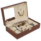 BEWISHOME Jewelry Box 8 Watch Box Organizer 2-in-1 Storage Show Case Metal Hinge Brown PU Leather SSH05Z