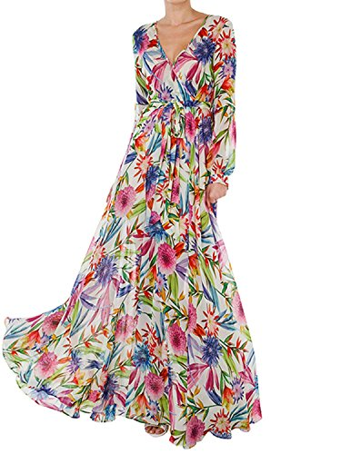 Haoduoyi Womens Vintage Style Chiffon V Neck Puff Pleated Wrap Long Maxi Full-Skirted Dress, Small, Multicoloured