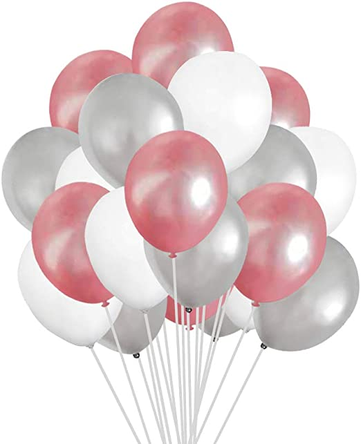 Silver Polka Dot Decor 10 Pack of 12 White With Silver Polka Dot Balloons White Balloons Spotted Balloons,Birthday Decor Silver Balloons