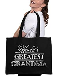 World's Greatest Grandma Canvas Tote Bag -Mothers Day Gifts for Grandma
