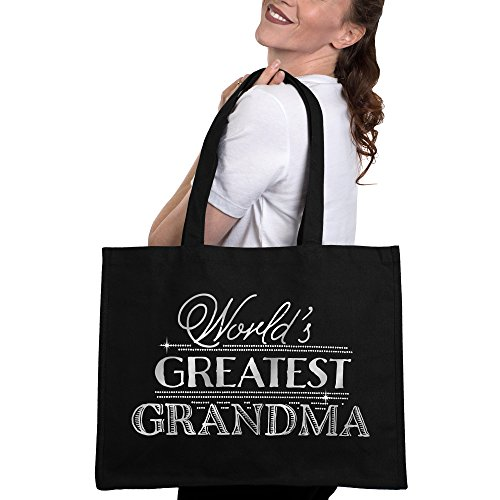 World's Greatest Grandma Tote Bag - Mothers Day Gift Bag for Grandmother - Black