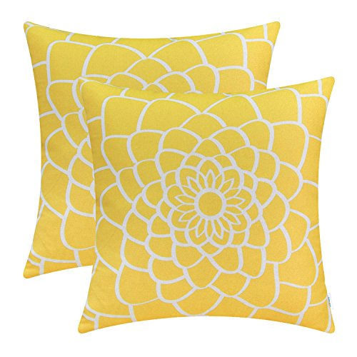Cushion Decor Covers - CaliTime Pack of 2 Soft Canvas Throw Pillow Covers Cases for Couch Sofa Home Decor Dahlia Floral Outline Both Sides Print 16 X 16 Inches Maize Yellow