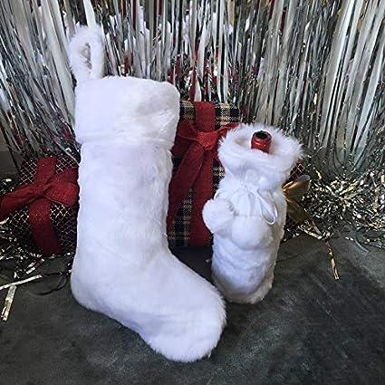 Bolange Calcetines de Navidad de Moda Blanco Nieve, Medias de Navidad Decoraciones de Chimenea de