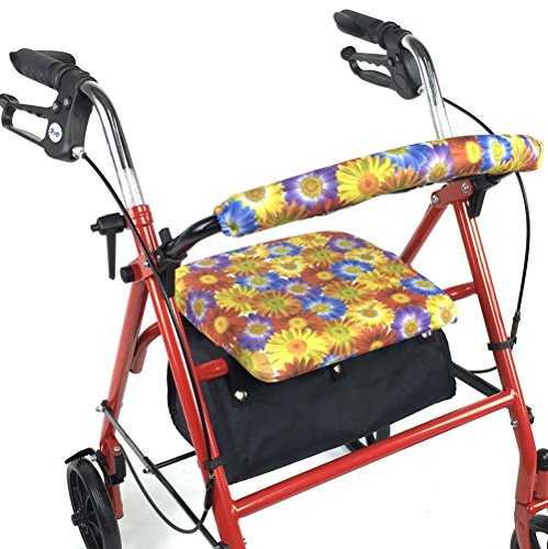 Crutcheze Daisy Bouquet Rollator Walker Seat and Backrest Covers Designer Fashion Accessories Made in (Daisy Usa Bouquet)
