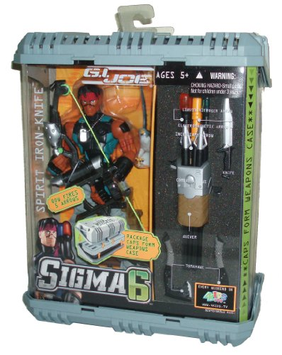 GI Joe Year 2005 Sigma 6 Series 8 Inch Tall Action Figure Set : SPIRIT IRON-KNIFE with Compound Bow, 1 Liquid Nitrogen Arrow, 1 Electromagnetic Arrow, 1 Incendiary Arrow, 2 Combat Arrows, Knife, Quiver, 2 Tomahawks and Pet Falcon