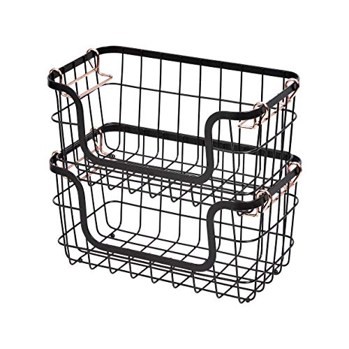 Amazon Basics Stackable Metal Wire Storage Basket Set for Kitchen or Bathroom – Black/Rose Gold