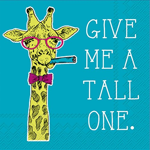 Ideal Home Range 20-Count Rosanne Beck Boho Animals Paper Cocktail Napkins, Give Me a Tall One