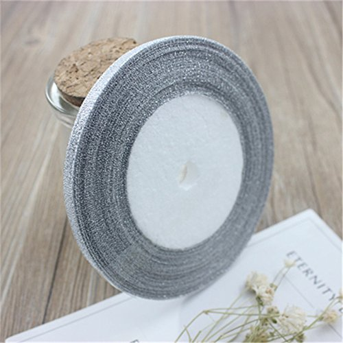 beautiful home decoration silk satin silver ribbon gift wrapping material diy for new year and christmas gift 6mm wide 25 meters ()