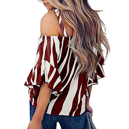 Bravetoshop 2019 Fashion Women's Striped Off Shoulder Bell Sleeve Shirt Tie Knot Casual Blouses Tops Wine
