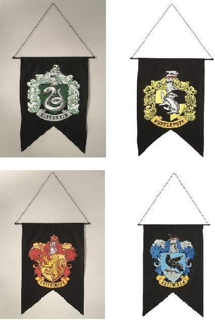 Rubie's Costume Co Bundle - 4 Items: Harry Potter Gryffindor Slytherin Hufflepuff Ravenclaw House Wall 4 Banner Set