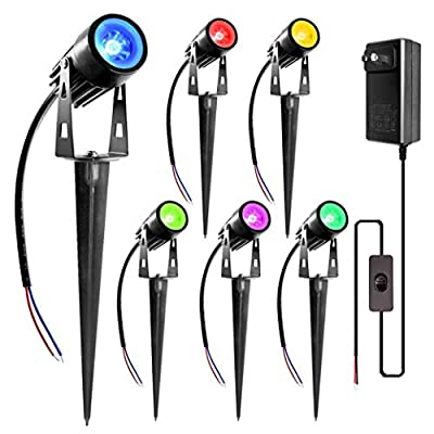 ZUCKEO RGB LED Landscape Lights 12V 24V Low Voltage IP66 Waterproof Garden Lights with Transformer, Color-Changing Landscape Lighting Walls Pathway Outdoor Spotlights with Spike Stand (6 Pack)