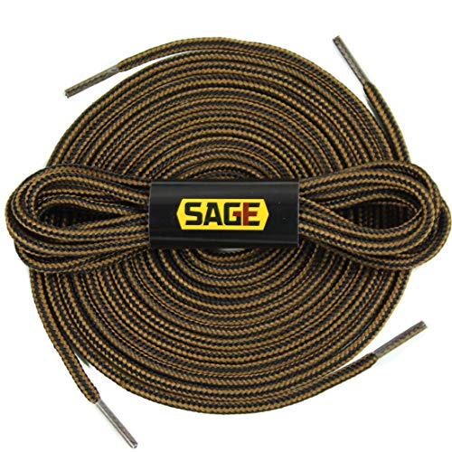 [SAGE] Round Shoelaces, Work Boot Replacement Laces (Black/Brown - M)