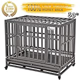 "Best Heavy Duty Dog Crates - SMONTER 38"" Heavy Duty Dog Crate Strong Metal Review"