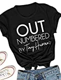 Nlife Women Funny Cotton Out Numbered Letter Print Top Round Neck Rolled up Short Sleeve Casual T-Shirt