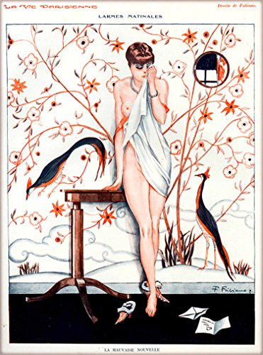 1920s La Vie Parisienne La Mauvaise Nouvelle Crying Nude Girl French Nouveau from a Magazine France Travel Advertisement Picture Art Poster Print. Poster measures 10 x 13.5 inches