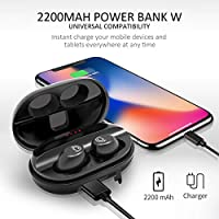 CHISANA Wireless Headphones – Bluetooth 5.0 Wireless Earbuds Headset | 3D Stereo Sound Deep Bass In-Ear HiFi True Wireless Earbuds w/Built-In Mic | 72H Playtime With 2200mAh QI Portable Charging Case by CHISANA