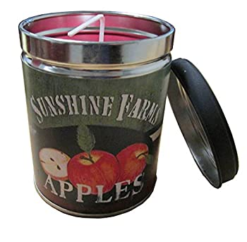Macintosh Apple Scented Candle in 13 oz Tin with Sunshine Farms Apple Label by Linda Spivey - Made in the USA by Our Own Candle Company