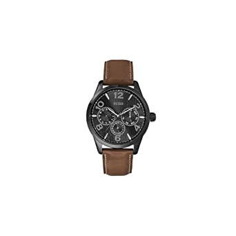 960f03a7b8 Guess watch strap W0493G3 Leather Brown 22mm + white stitching (Only watch  strap - WATCH NOT INCLUDED!)  Amazon.co.uk  Watches
