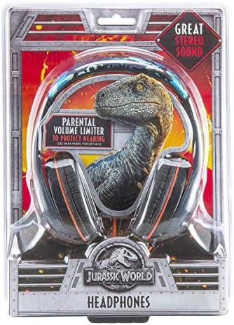 Jurassic World 2 Kids Headphones, Adjustable Headband, Stereo Sound, 3.5Mm Jack, Wired Headphones for Kids, Tangle-Free, Volume Control, Childrens Headphones Over Ear for School Home, Travel 51hUCeicjcL
