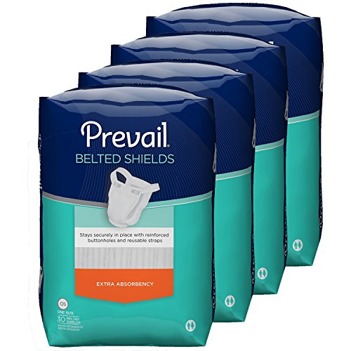 Prevail Extra Absorbency Incontinence Belted Shields, 30-Count, Pack of 4