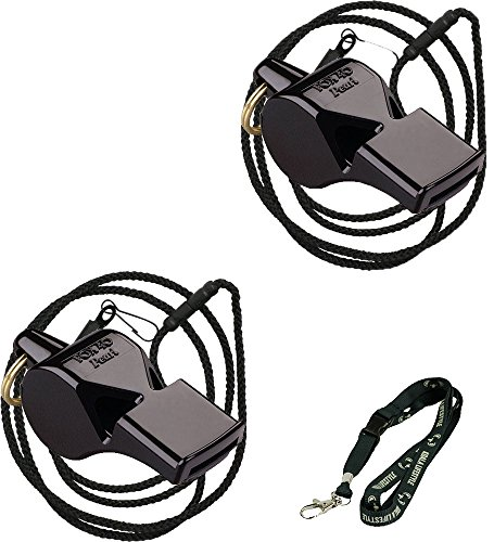 Fox 40 Pearl Safety Loud Pealess Outdoor, Survival, Boat Safety, Lifeguard Rescue, & Marine Emergency Whistle + Breakaway Lanyards | 2pk Bundle + Koala Lanyard, Black (Outdoor Pearl)