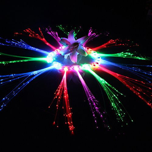 Ezerbery 15 pcs LED Color Changing Fiber Optic Hair Lights Barrettes Light Up Party Favors Glow Toys Supplies