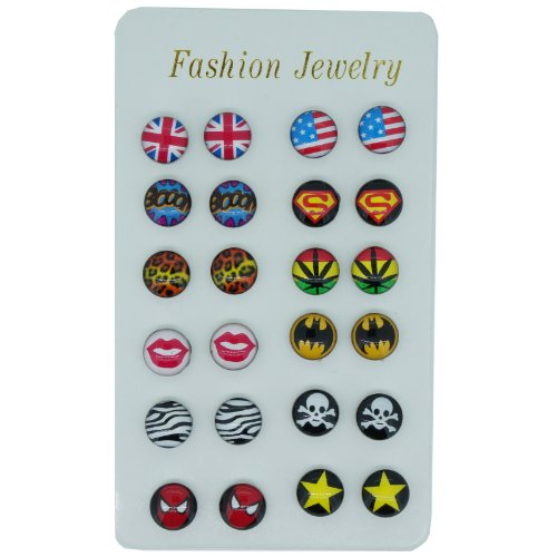 Pack of 12 Pairs 10mm Color Cartoon Hero Flag Magnetic St...
