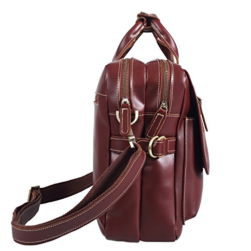 Polare Italian Leather Briefcase Should Bag Attache Fit 15.6inch Laptop by Polare (Image #2)