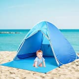 MOICO Beach Tent Pop up Sun Shelter Tents, Pop Up UV-Proof Baby Beach Tent,Portable Automatic Sun Tent, Fit 2-3 Persons for Camping, with 6 Aluminium Alloy Floor Nails