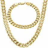 Trendsmax 9mm Wide Gold Plated Curb Cuban Mens Womens Chain Bracelet Necklace Jewelry Set