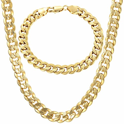 Trendsmax 9mm Wide Gold Plated Curb Cuban Mens Womens Chain Bracelet Necklace Jewelry (Hip Hop Chain Bracelet)